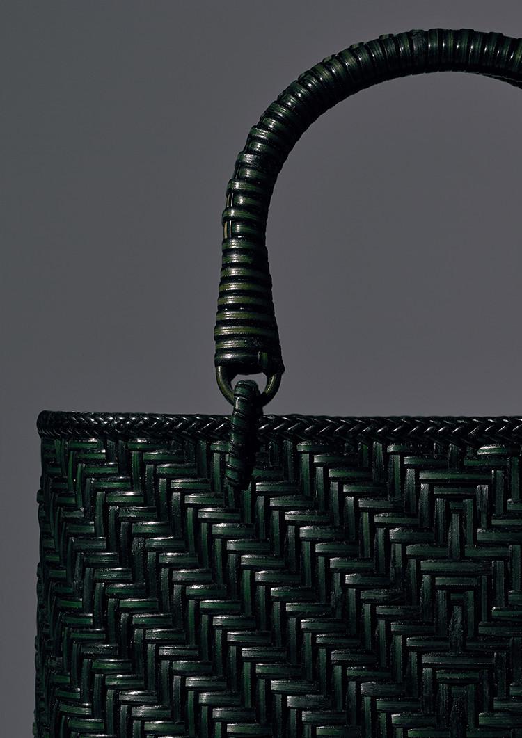 Rattan Bag Woven In A Wicker-like Pattern