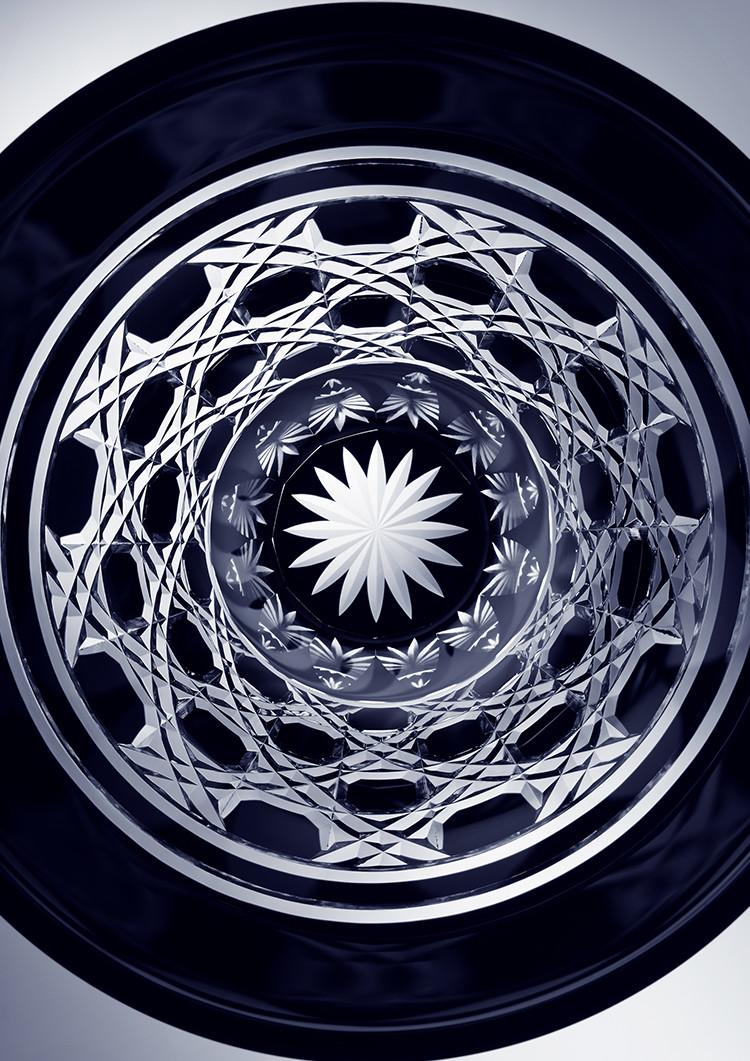 Black Edo Kiriko Octagonal Patterns