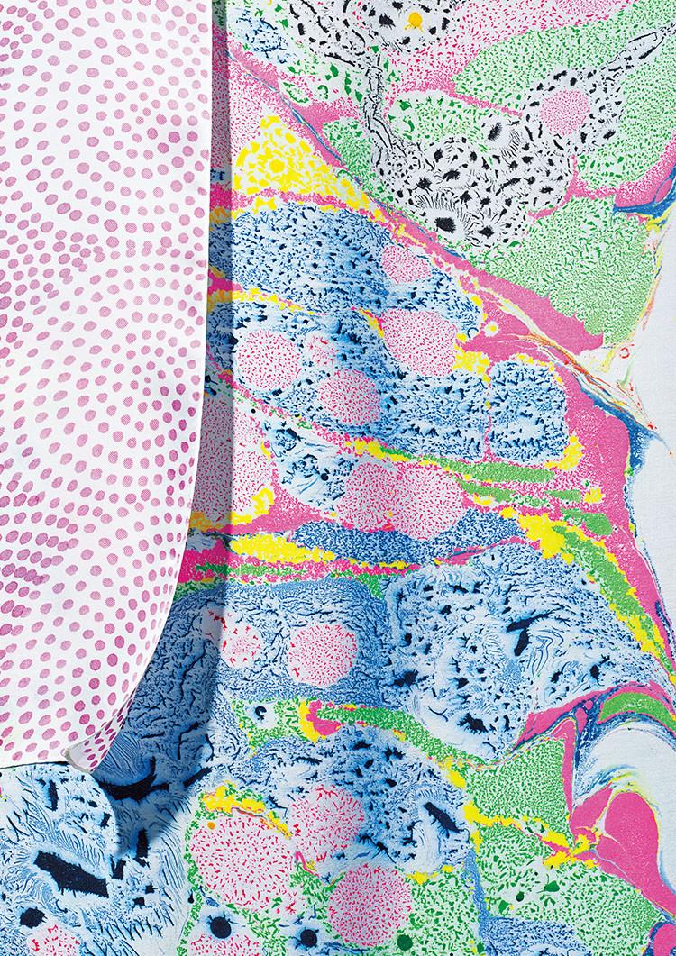 Tegaki-Yuzen Suminagashi (Hand-painted Yuzen marbling)