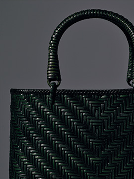 籐網代編みハンドバッグ