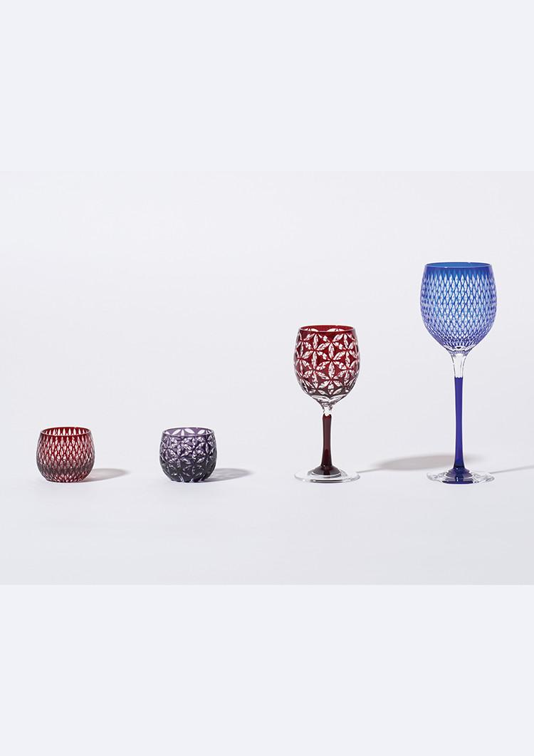 ぐい呑み/ワイングラス 麻の葉つなぎ 紅/ロングワイングラス 米つなぎ 瑠璃