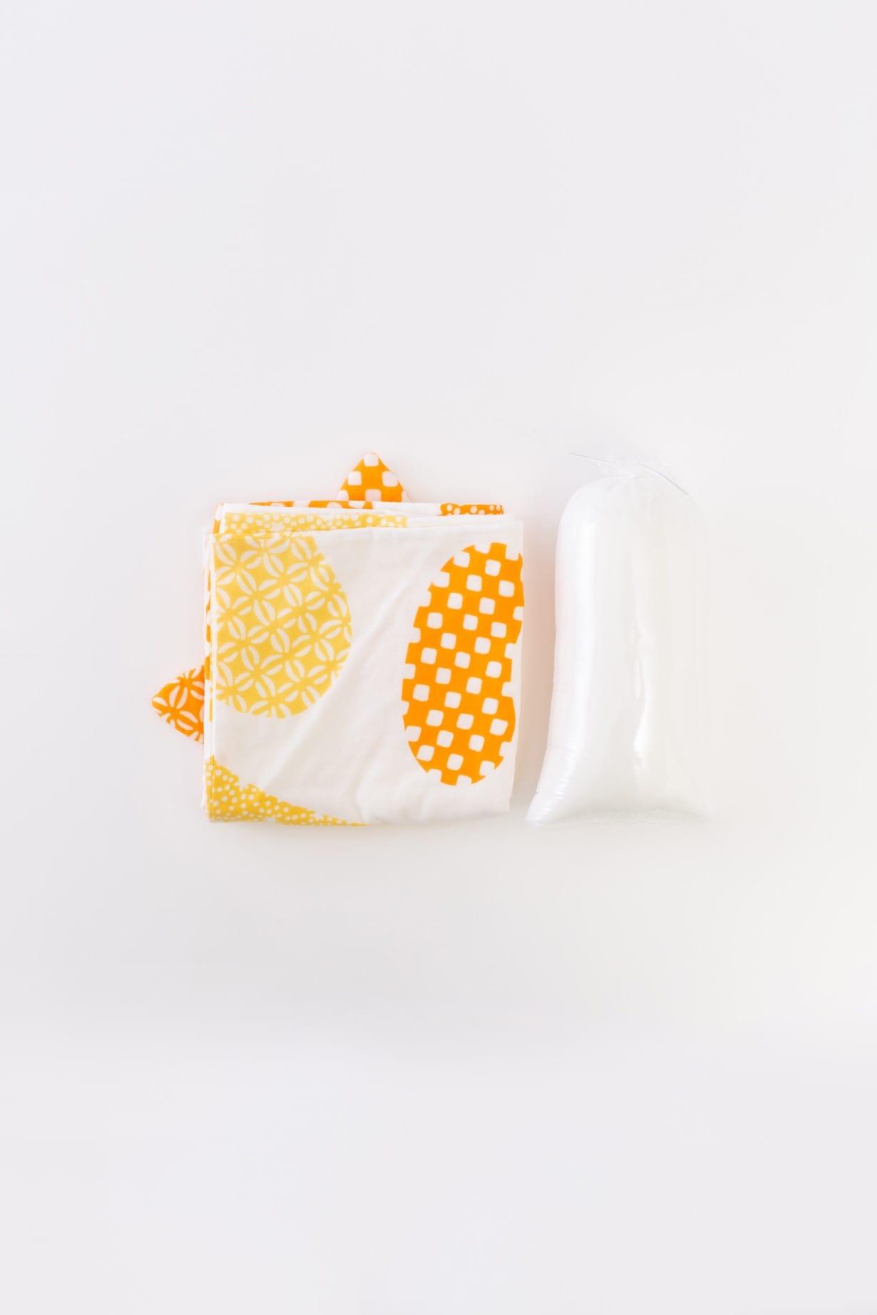ねこ(イエロー) 手拭と中綿